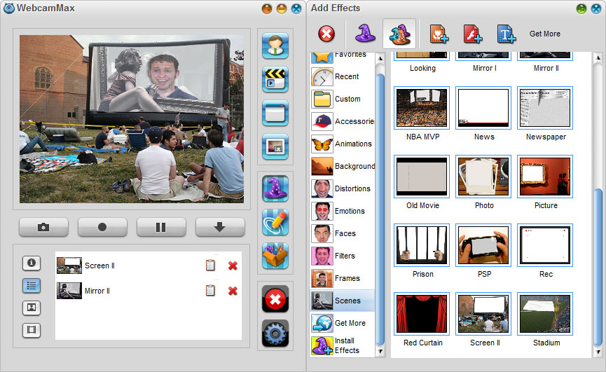 WebcamMax 7,Add Effects - Scenes Effects