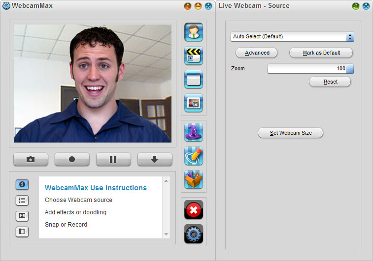 WebcamMax 7,Select Source - Live Webcam