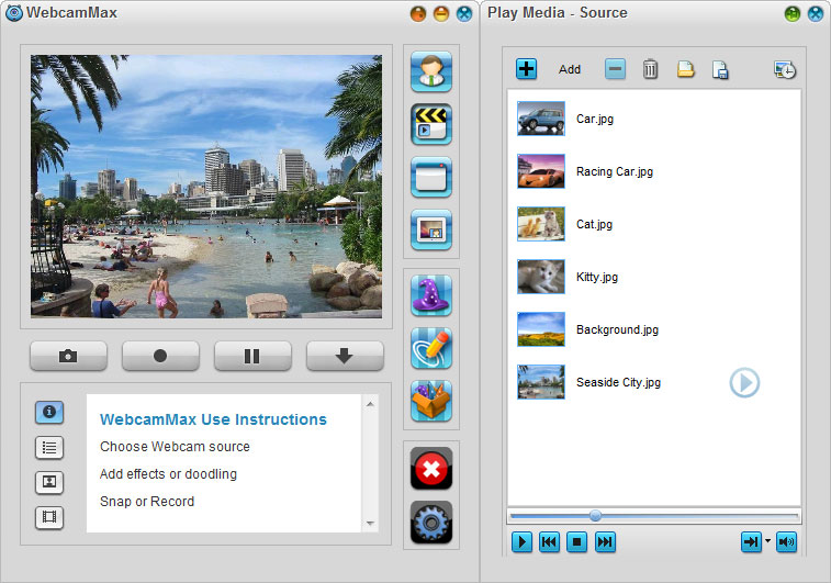 WebcamMax 7,Select Source - Play Media (Picture)