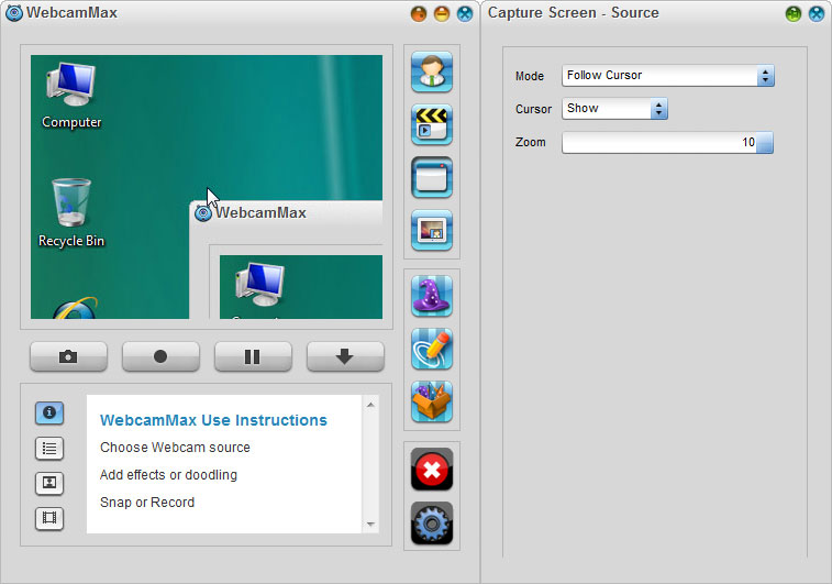 WebcamMax 7,Select Source - Capture Screen