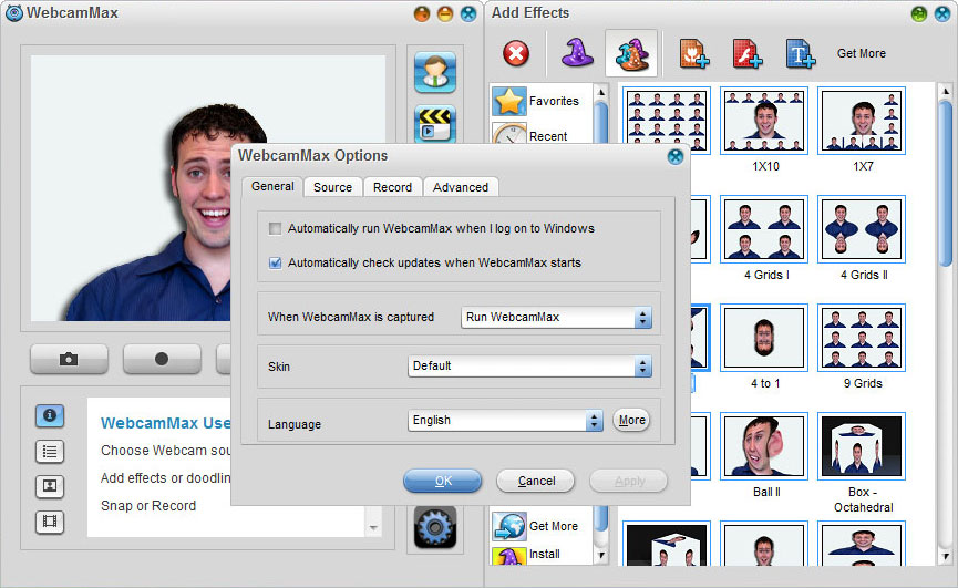 WebcamMax 7,Options