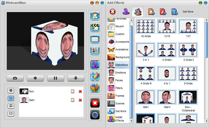 WebcamMax 7,Add Effects - Distortions Effects
