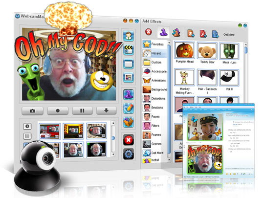 Add thousands of cool effects to webcam video for live video chats or recording.